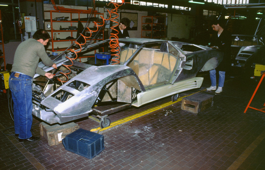Detail of Lamborghini factory 1988.Countach under construction by Unknown
