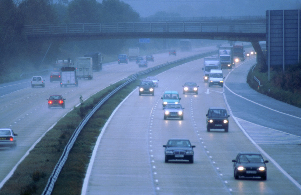 Detail of M27 Motorway in poor weather by Unknown