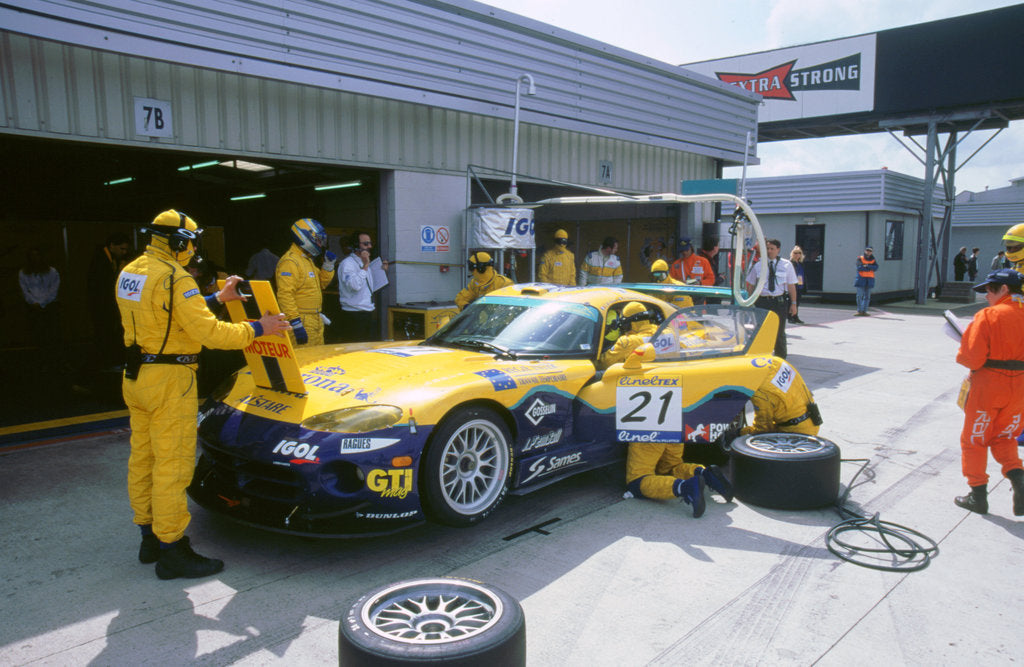 Detail of 1999 Chrysler Viper,fia gt silverstone 500, in pits by Unknown
