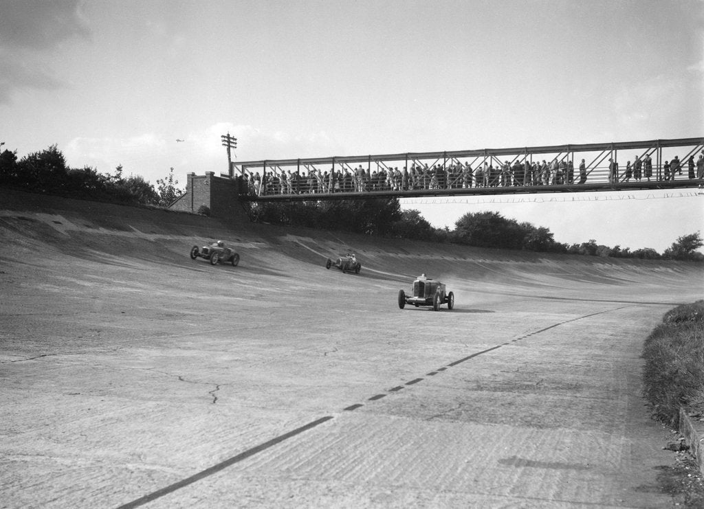 Detail of Cars racing on Byfleet Banking during the BRDC 500 Mile Race, Brooklands, 3 October 1931 by Bill Brunell