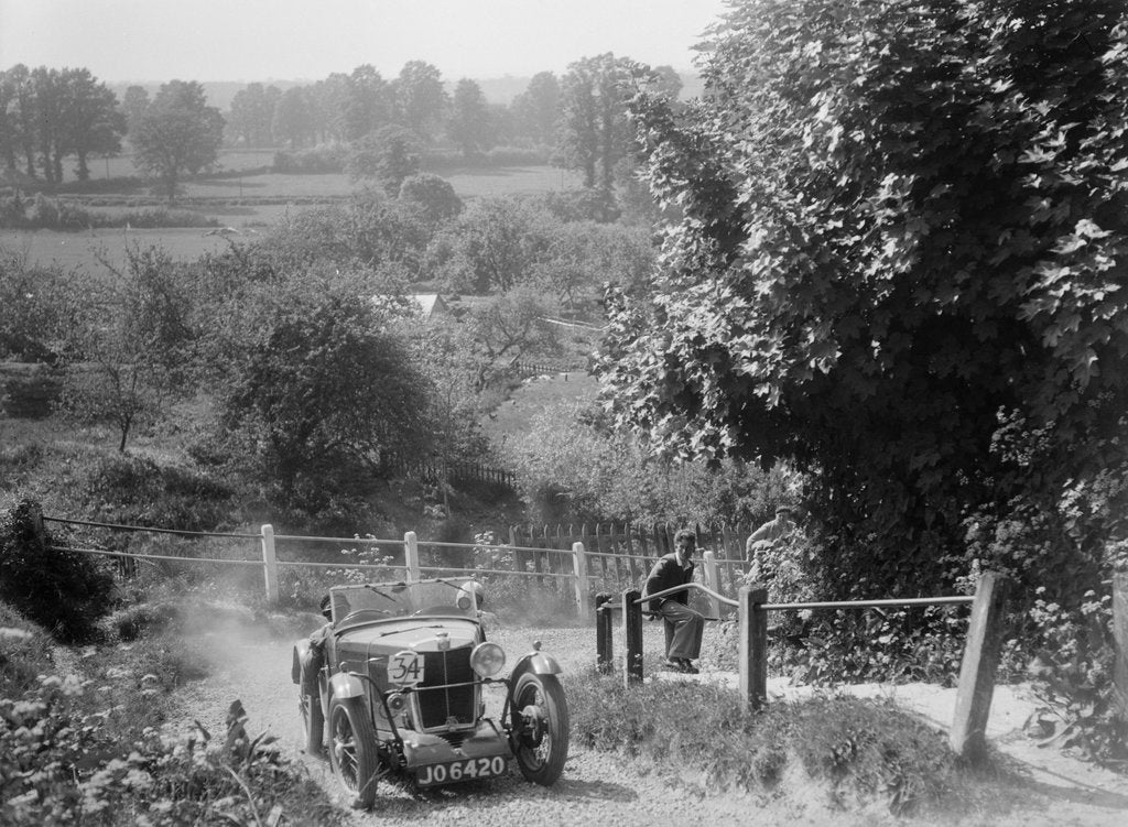 Detail of 1933 MG J2 Standard taking part in a West Hants Light Car Club Trial, Ibberton Hill, Dorset, 1930s by Bill Brunell