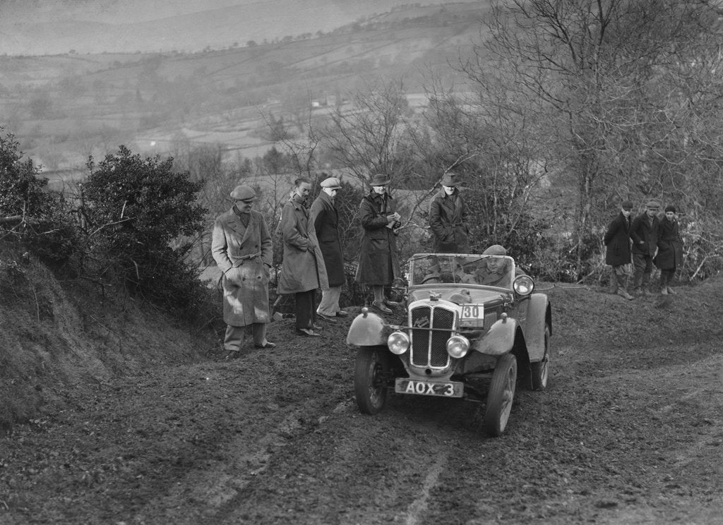 Detail of Austin 7 Grasshopper of TH Cole competing in the MG Car Club Midland Centre Trial, 1938 by Bill Brunell