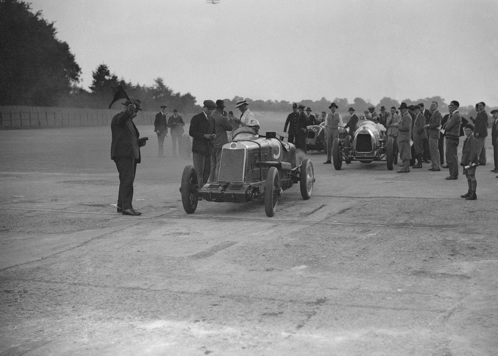 Detail of Lea-Francis, Delage and Bentley at a Surbiton Motor Club race meeting, Brooklands, Surrey, 1928 by Bill Brunell