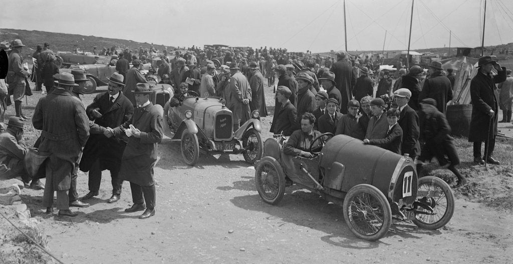 Detail of Raymond Mays' Bugatti Brescia and JS Chance's Enfield Allday, Porthcawl Speed Trials, Wales, 1922 by Bill Brunell