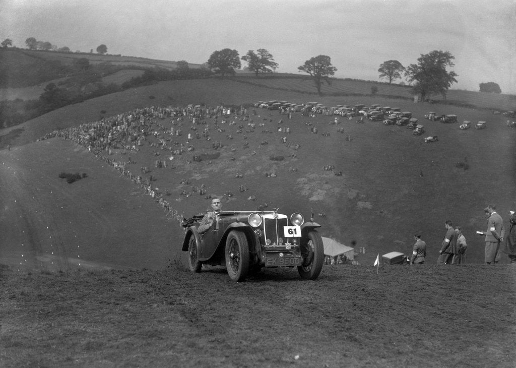 Detail of MG Magnette competing in the MG Car Club Rushmere Hillclimb, Shropshire, 1935 by Bill Brunell