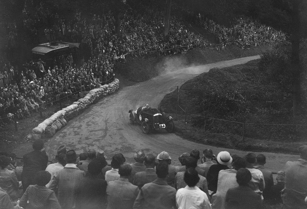 Detail of Bentley of Eddie Hall competing in the Shelsley Walsh Hillclimb, Worcestershire, 1935 by Bill Brunell