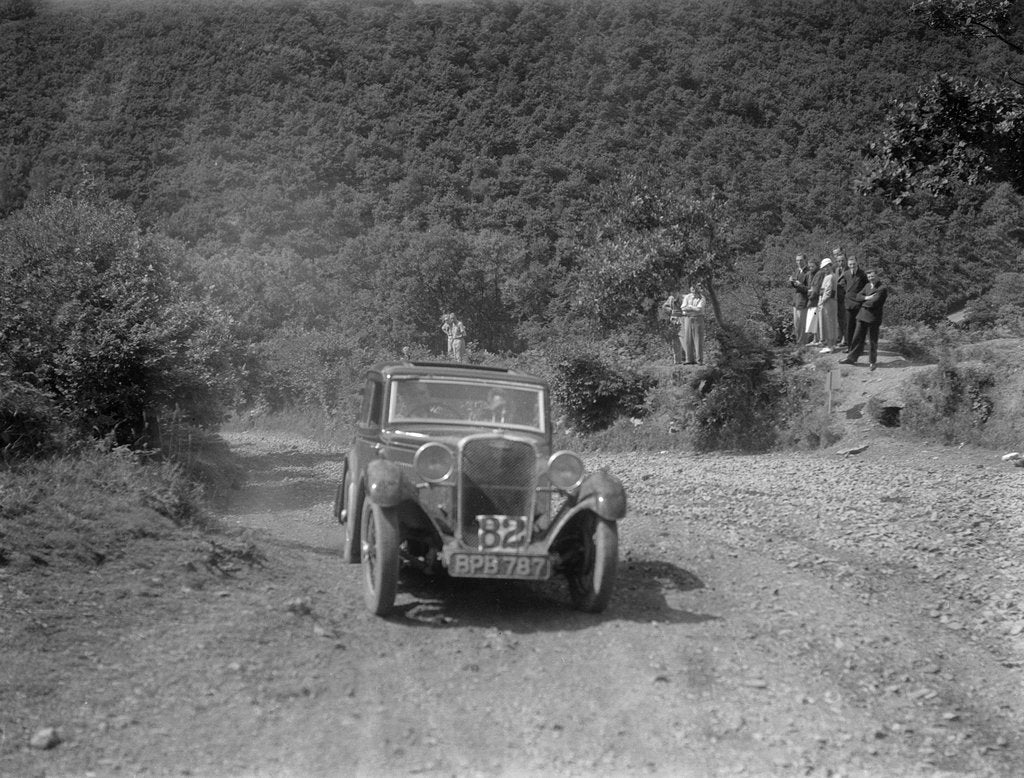 Detail of Singer 9 sports saloon competing in the Mid Surrey AC Barnstaple Trial, Beggars Roost, Devon, 1934 by Bill Brunell