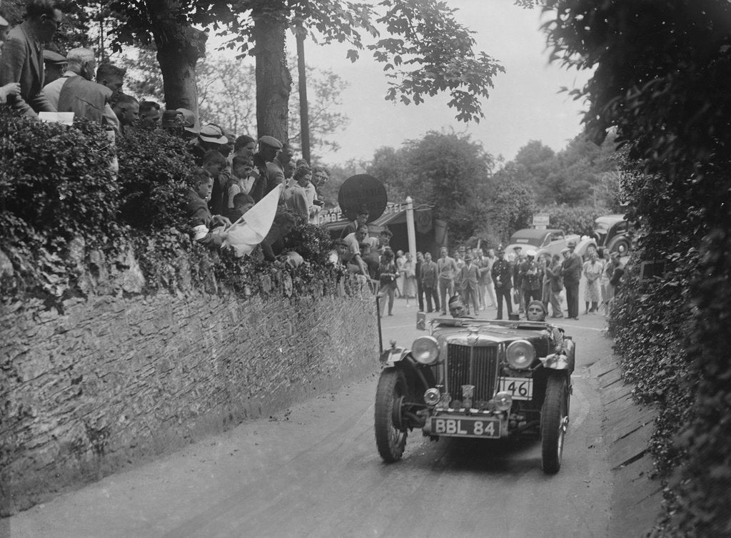 Detail of MG TA of Archie Langley of the Three Musketeers team, MCC Torquay Rally, Torbay, Devon, 1938 by Bill Brunell
