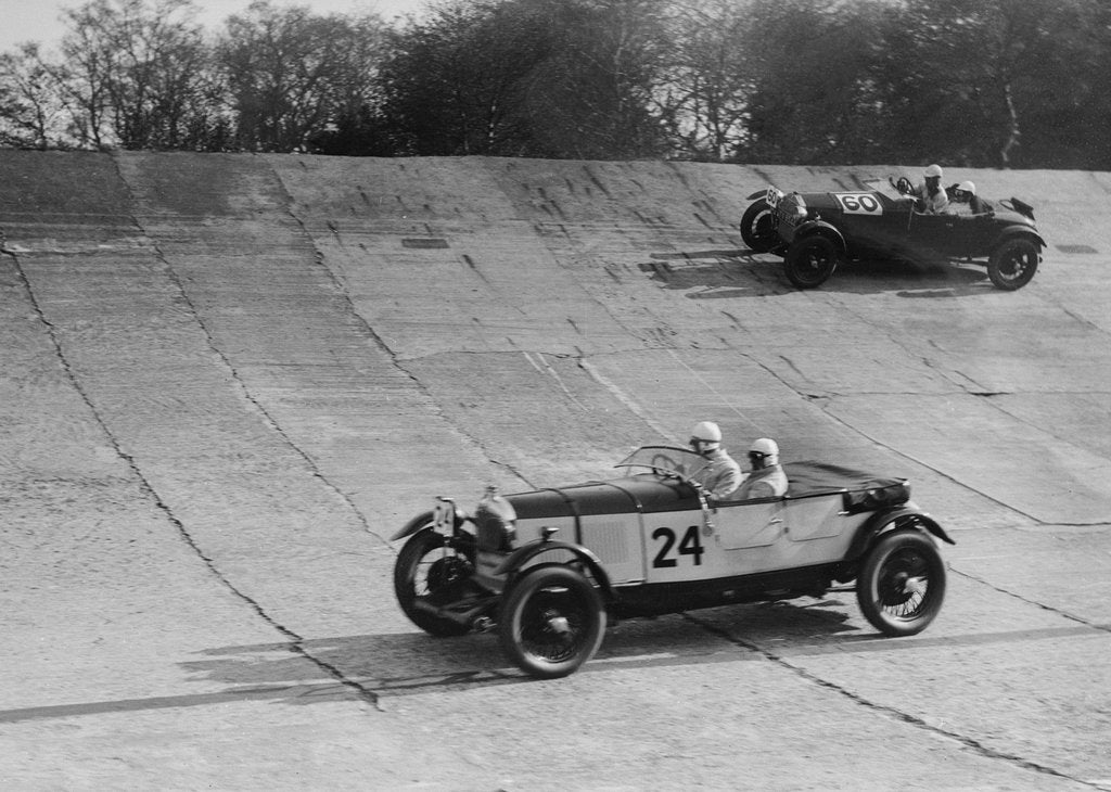 Detail of Lagonda and Alfa Romeo on the banking at the JCC Double Twelve Race, Brooklands, Surrey, 1929 by Bill Brunell
