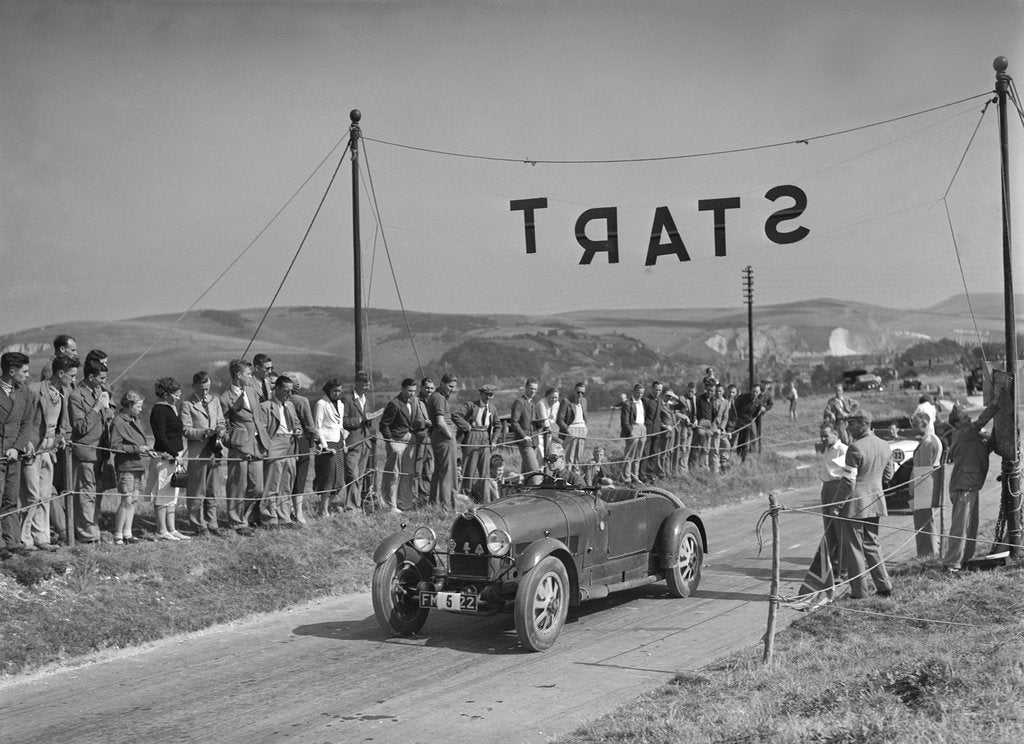 Detail of Bugatti Type 43 of AF Walsham competing in the Bugatti Owners Club Lewes Speed Trials, Sussex, 1937 by Bill Brunell