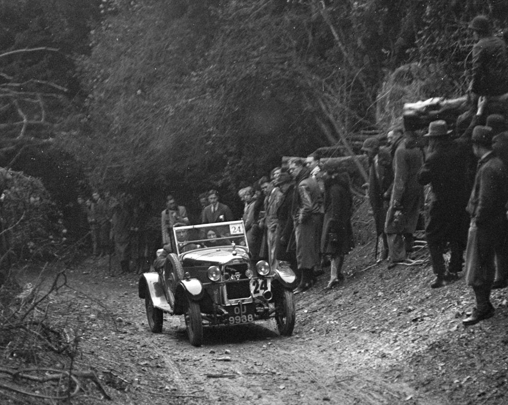 Detail of R Peaty's Singer open 4-seater tourer competing in the JCC Half-Day Trial, 1930 by Bill Brunell