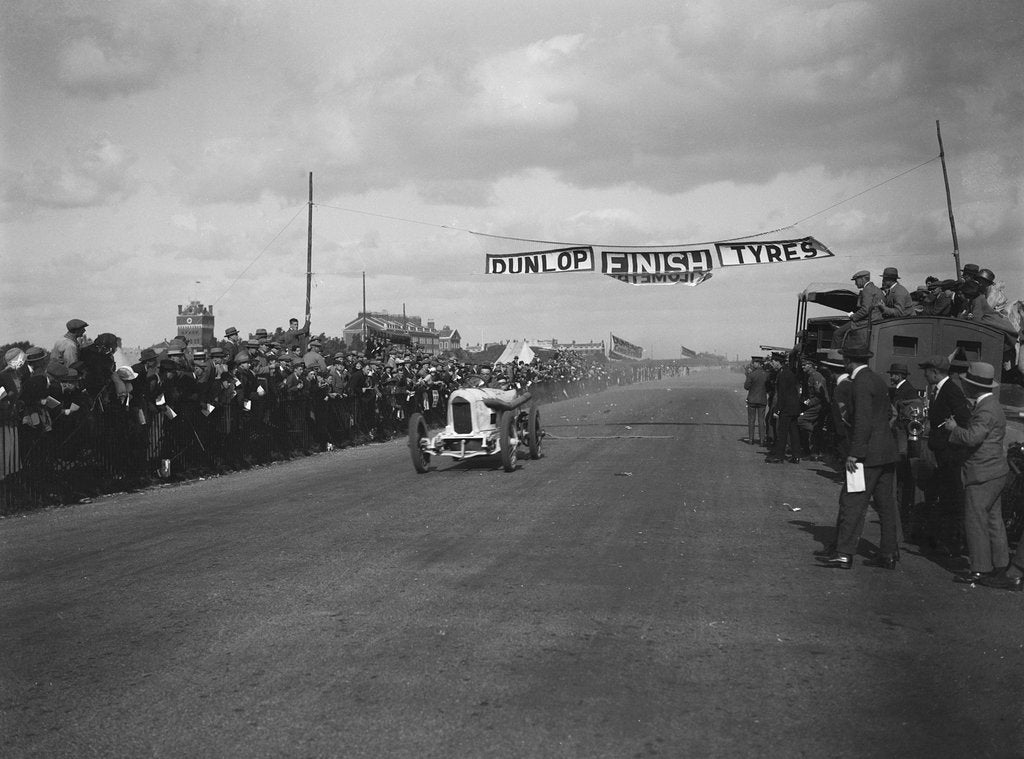 Detail of A Barlow's Benz 84hp at the finishing line, Southsea Speed Carnival, Hampshire, 1922 by Bill Brunell