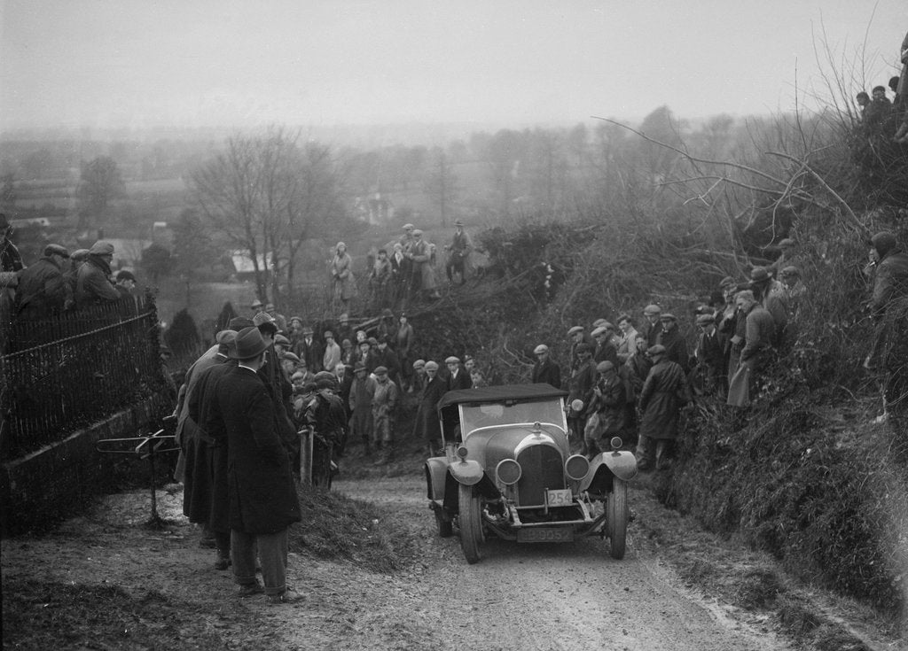 Detail of Bentley of FE Elgood competing in the MCC Exeter Trial, Ibberton Hill, Dorset, 1930 by Bill Brunell