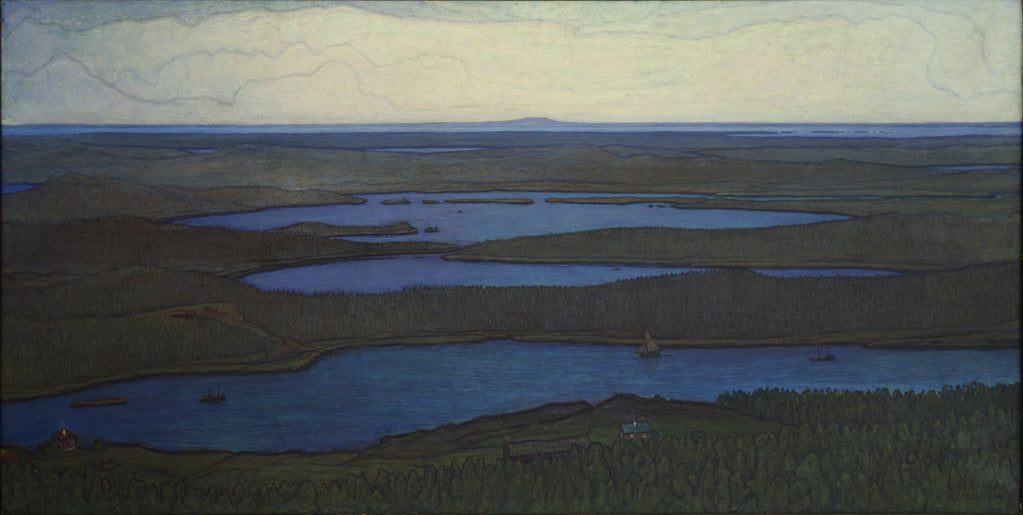 Detail of Over Forest and Lake, 1908 by Anonymous