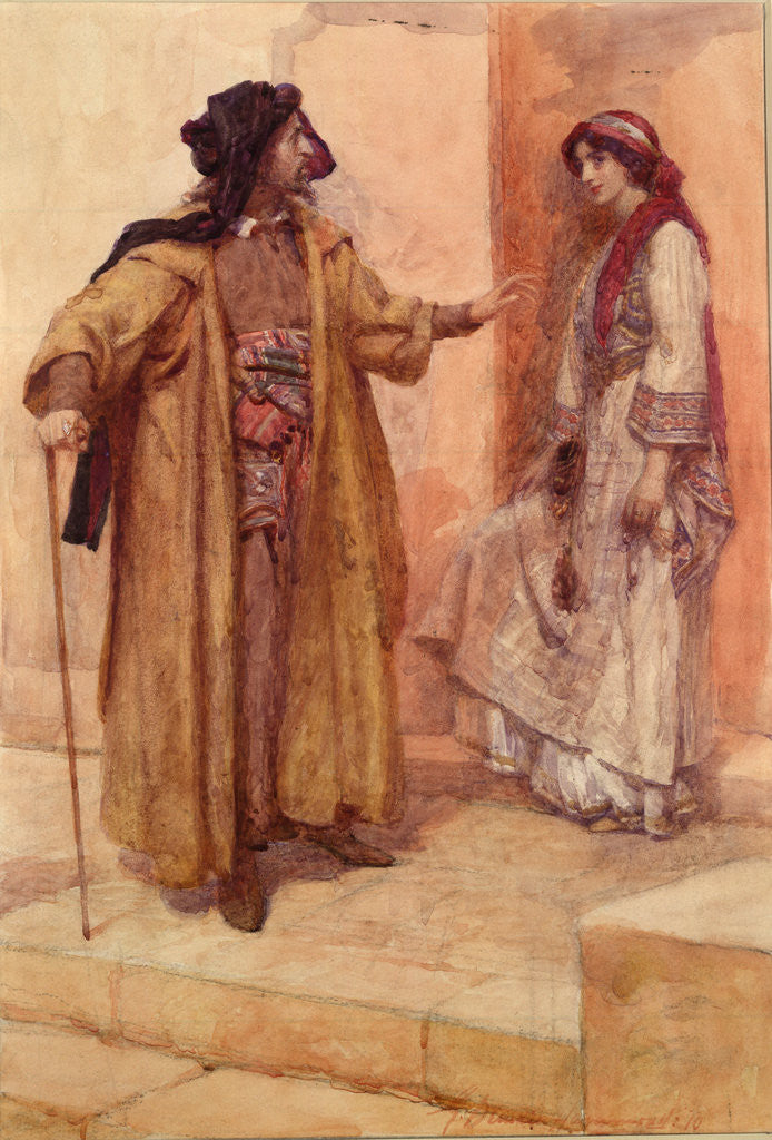 Detail of Merchant of Venice, Act II, Sc. v, Shylock and Jessica by Gertrude Demain Hammond