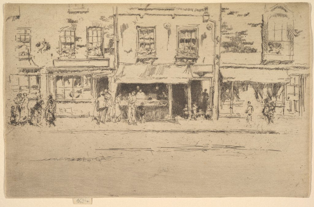 Detail of The Fish Shop, Busy Chelsea, 1886-87 by James Abbott McNeill Whistler