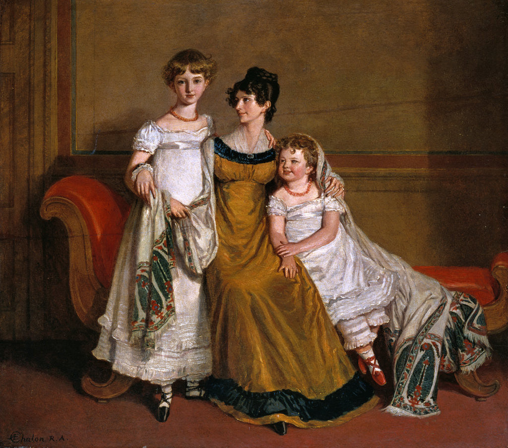 Portrait of a woman with two children in a domestic interior by Alfred Edward Chalon
