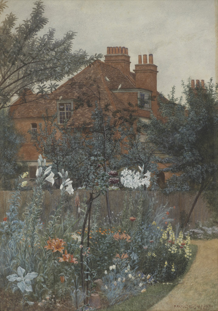 Detail of View of a garden in Bedford Park by F. Hamilton Jackson