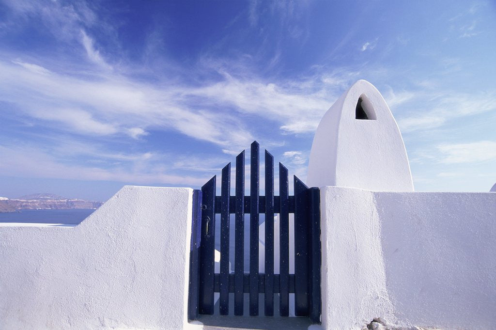 Detail of Blue gate and white wall, Oia, Santorin, Cyclades, Greece by Corbis