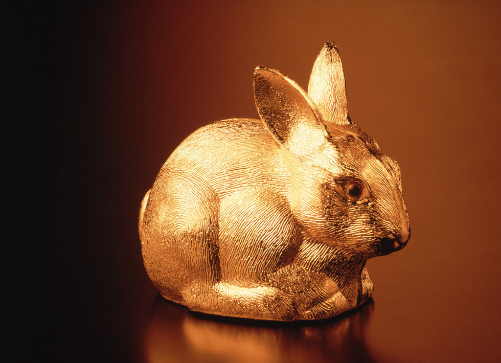Detail of Golden Easter bunny by Corbis