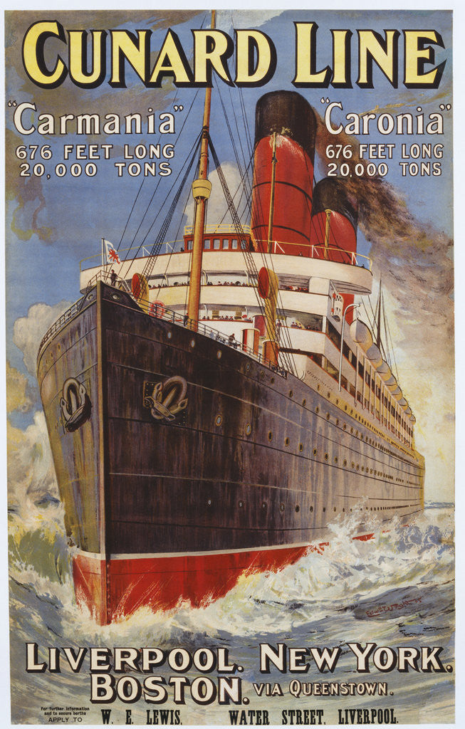 Detail of Cunard Line Poster by Corbis