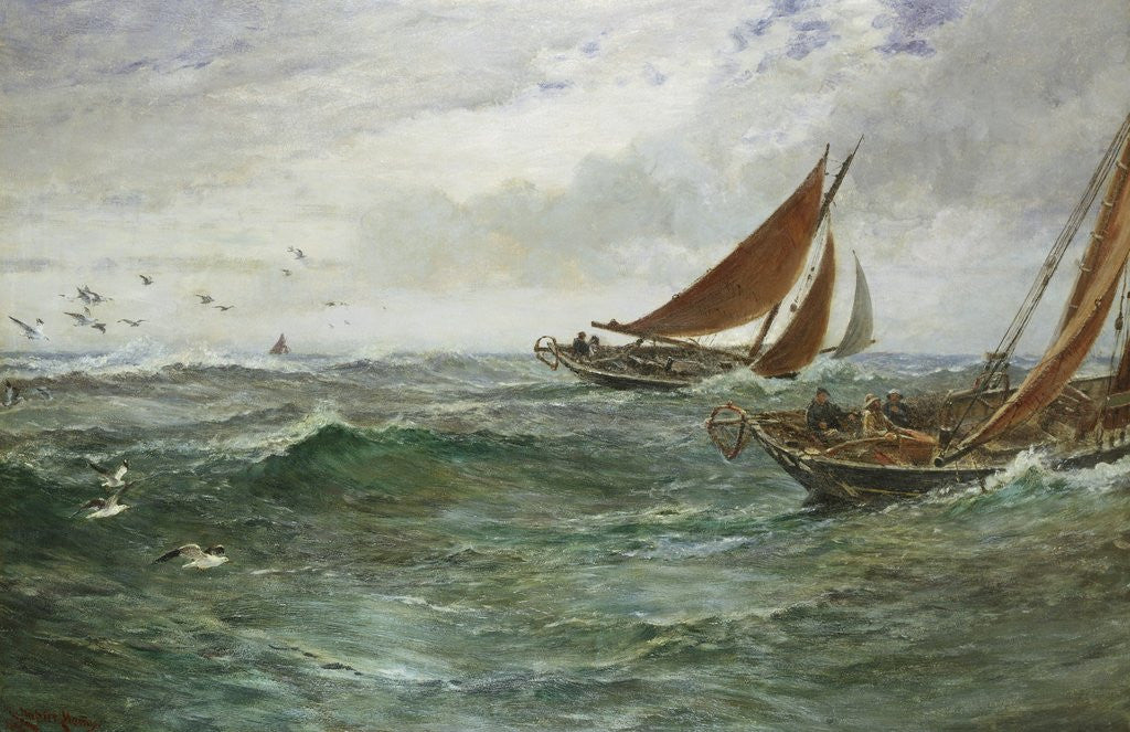 Detail of In the Track of the Trawlers by Charles Napier Hemy