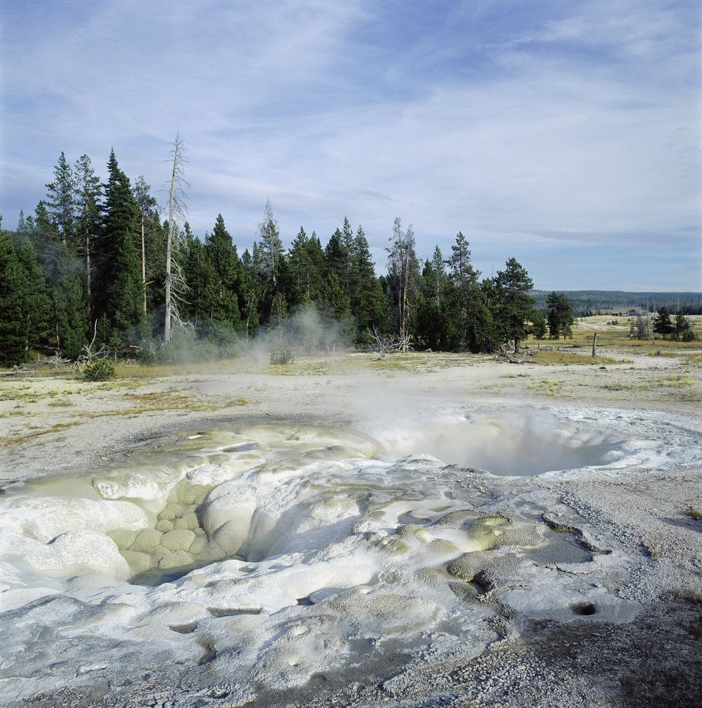 Detail of Geyser steaming, Yellowstone National Park, Wyoming, USA by Corbis