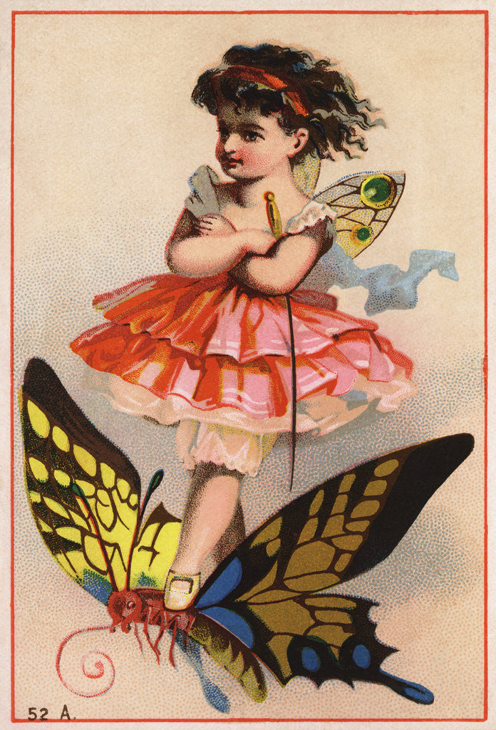 Trade Card of a Fairy Riding a Butterfly