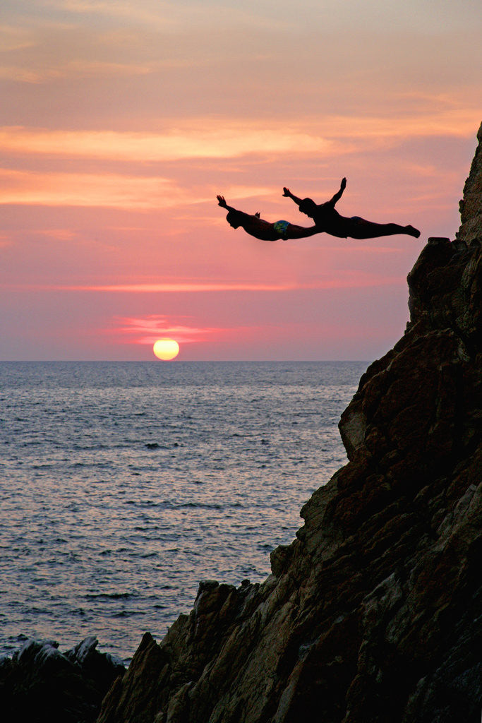 Detail of Acapulco Cliff Divers at Sunset by Corbis