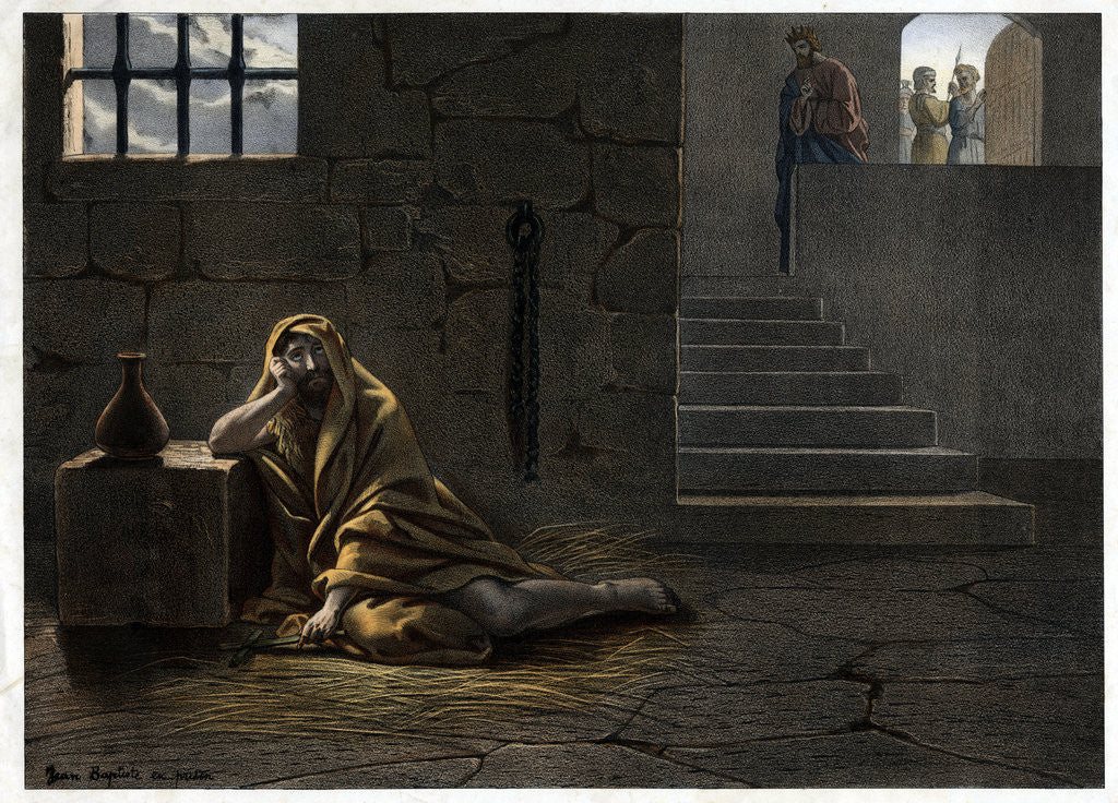 Detail of Saint John the Baptist in Prison 19th-Century Print by Corbis