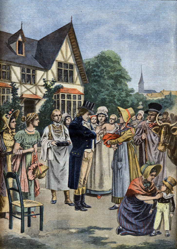 Detail of Illustration of Dr. Edward Jenner Vaccinating a Child Against Smallpox by Corbis