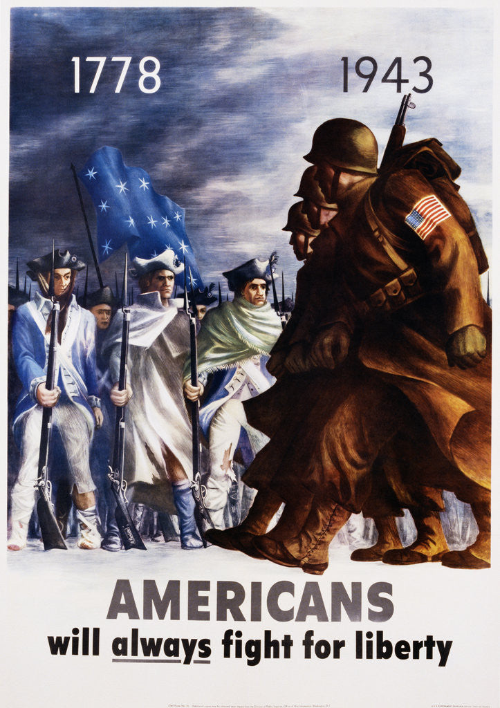 Detail of Americans Will Always Fight for Liberty Poster by Bernard Perlin