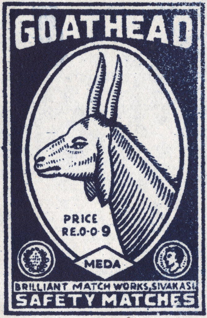 Detail of Goat Head Indian Matchbox Label by Corbis