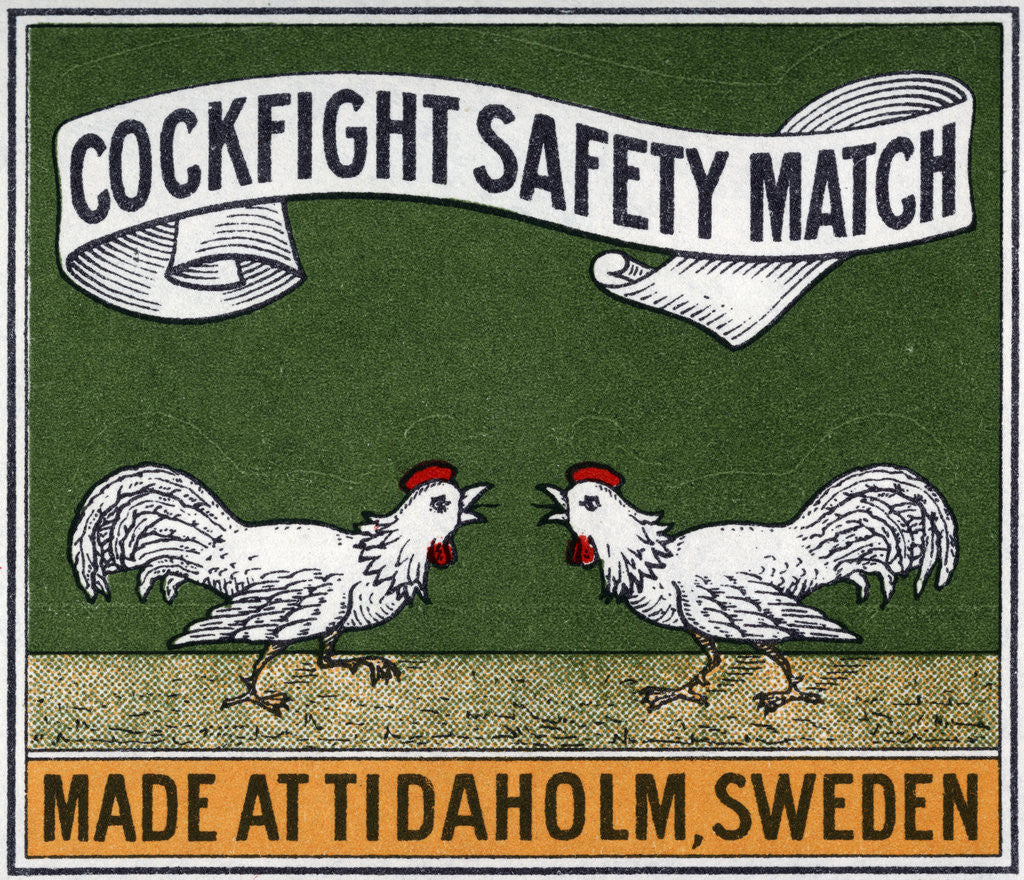 Detail of Cockfight Safety Match Swedish Matchbox Label by Corbis