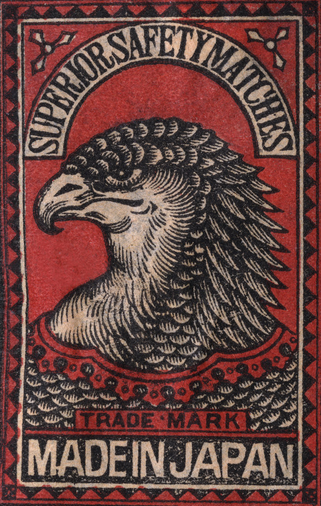 Detail of Japanese Matchbox Label with an Eagle Head by Corbis