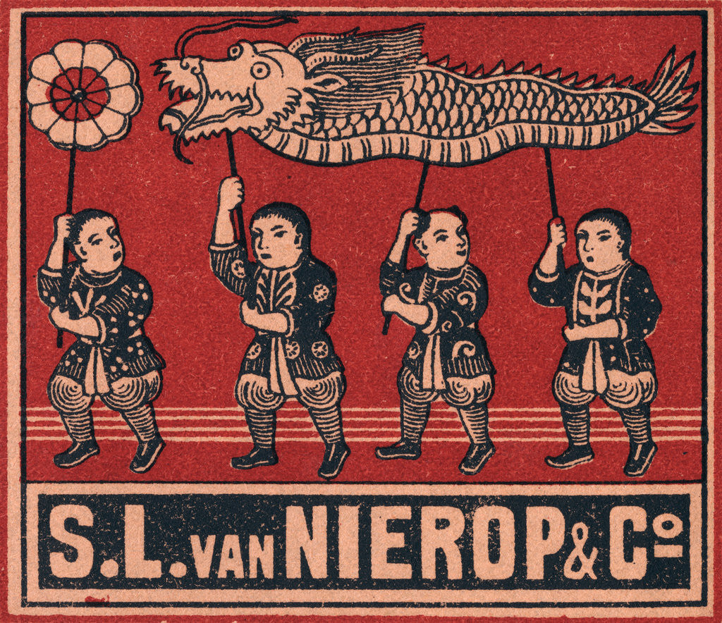 Detail of Chinese Matchbox Label with Children Holding a Parade Dragon by Corbis