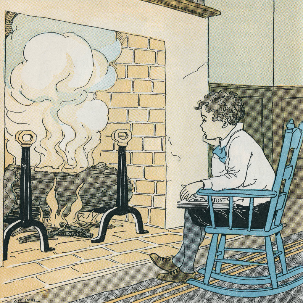 Detail of Illustration of a Boy in a Rocking Chair by Kate L. Deal