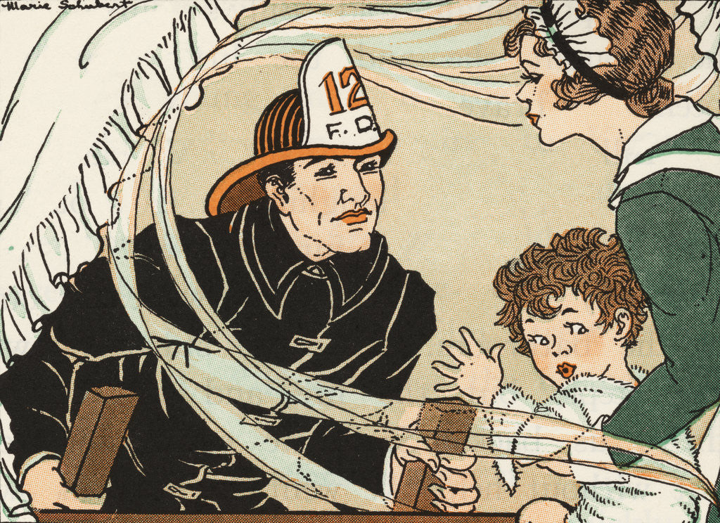 Detail of Illustration of a Fireman Rescuing a Woman and Child by Marie Schubert