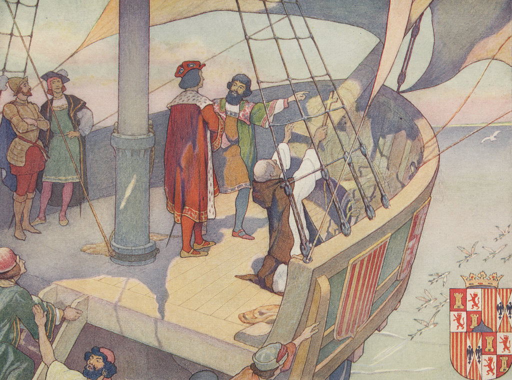 Detail of Book Illustration of Columbus Discovering America by E. Boyd Smith