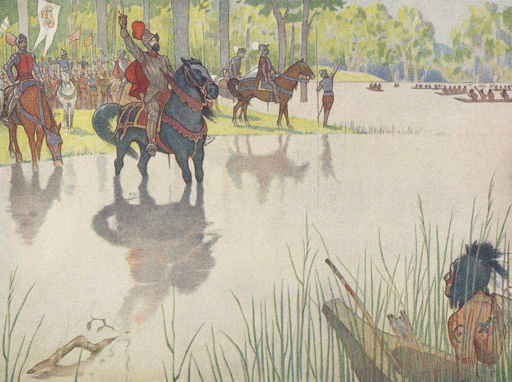 Detail of Book Illustration of Hernando de Soto at the Mississippi River by E. Boyd Smith