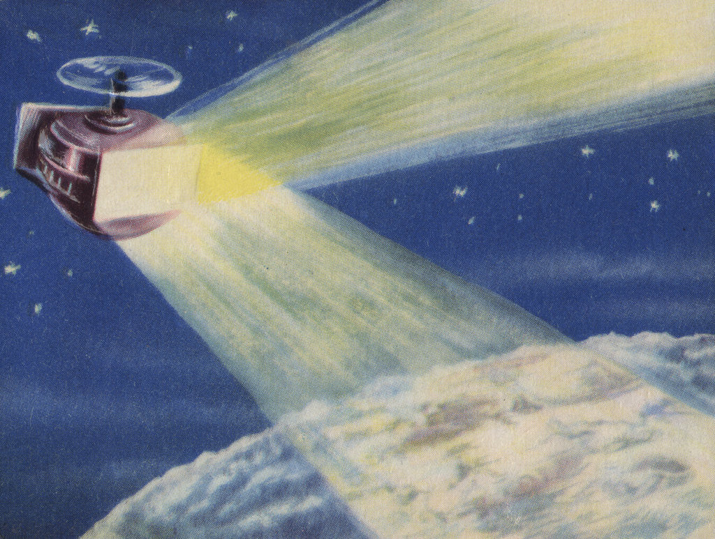Detail of Biekens Pictorial Sticker with a Satellite Sending Laser Beams to the Moon by Corbis