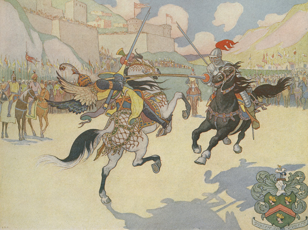 Detail of Book Illustration of Captain John Smith Jousting by E. Boyd Smith
