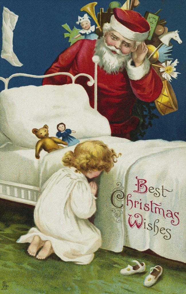 Detail of Best Christmas Wishes Postcard by Ellen H. Clapsaddle
