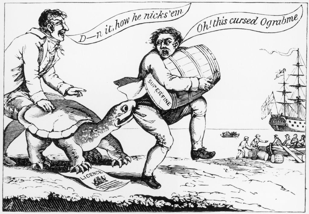 Detail of Cartoon: A Smuggler During the Embargo Act 1807-1809 by Corbis