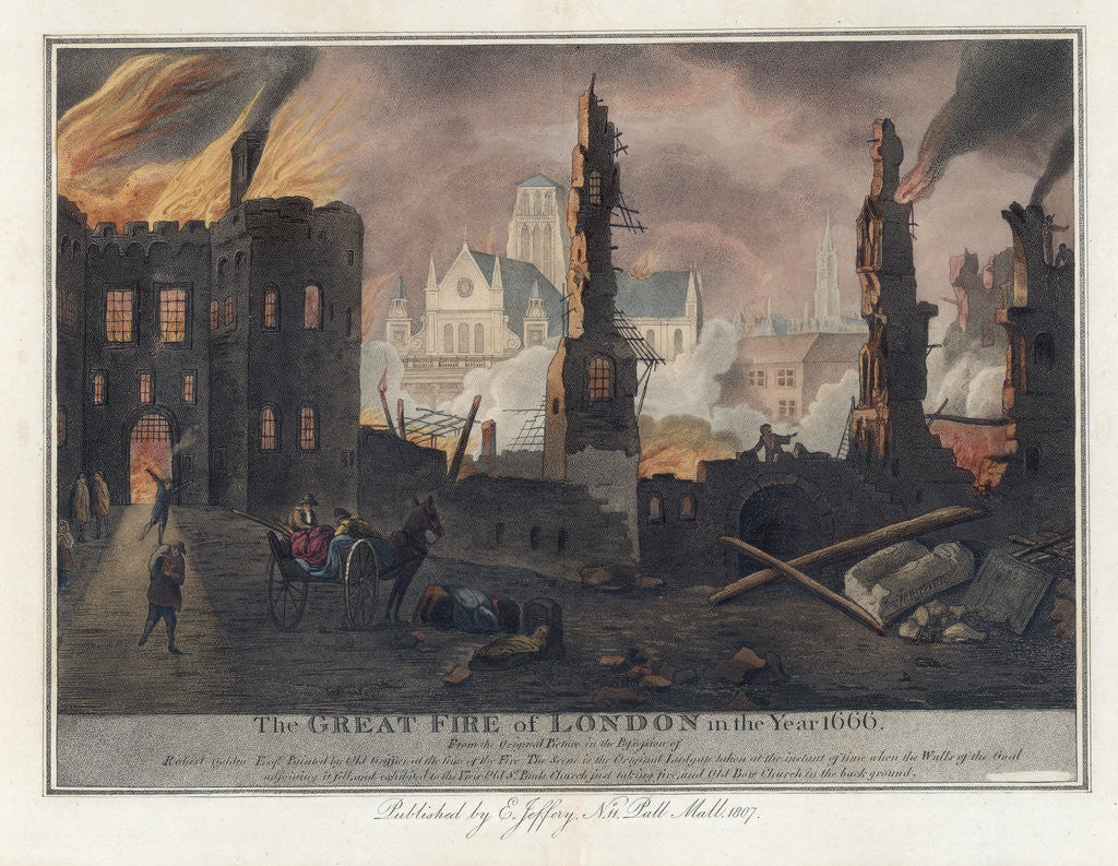 Detail of The Great Fire of London in the Year 1666 Print by Corbis