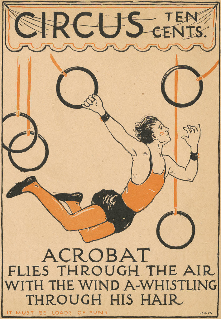 Detail of Acrobat Flies Through the Air Illustration by Corbis