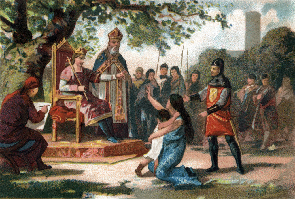 Illustration of King Louis IX Administering Justice Under the Oak of Vincennes posters & prints by Corbis