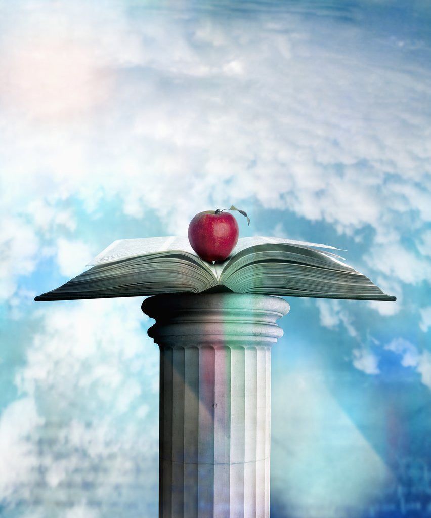 Detail of Apple and Open Book on Pedestal by Corbis