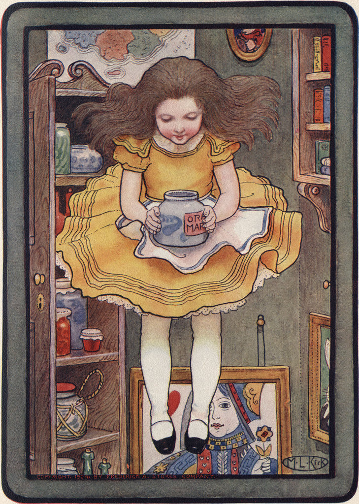 Detail of Illustration of Alice Holding a Jar by M.L. Kirk