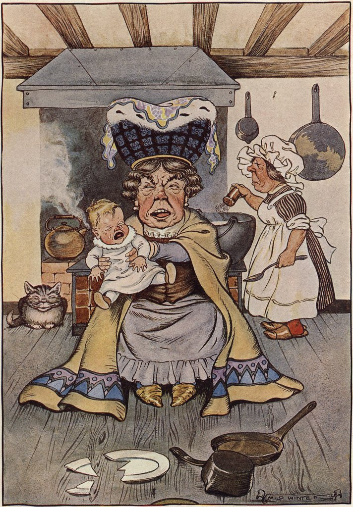 Detail of The Duchess Was Sitting on a Three-Legged Stool, Nursing a Baby Illustration by Milo Winter